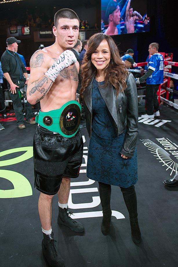 Boxer Dusty Hernandez-Harrison and actress Rosie Perez at the 2015 Throne Boxing at The Theater at Madison Square Garden.