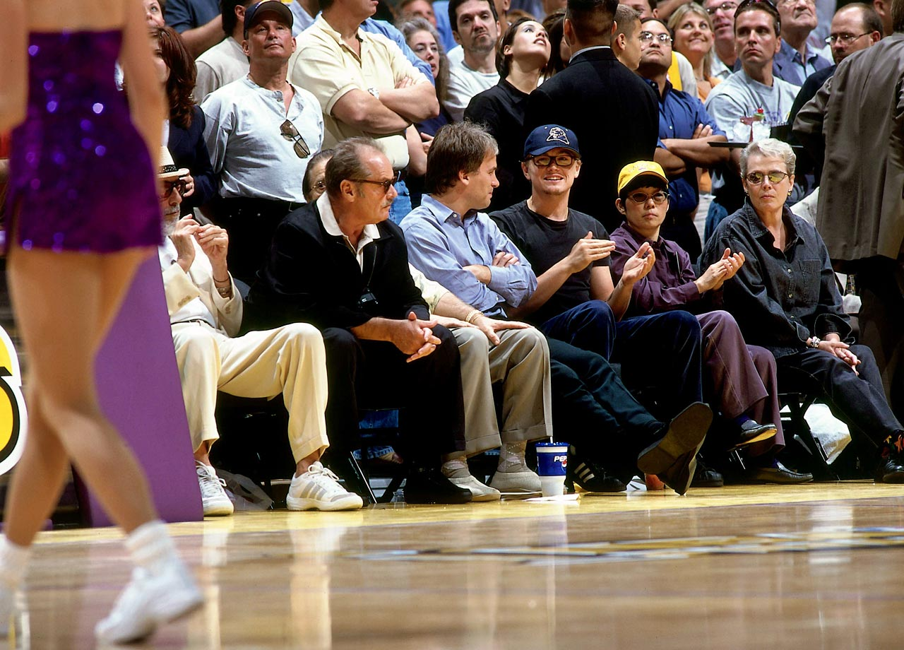 Leonardo DiCaprio and Jack Nicholson watch the Los Angeles Lakers take on the Indiana Pacers during Game 1 of the NBA Finals at Staples Center in Los Angeles.