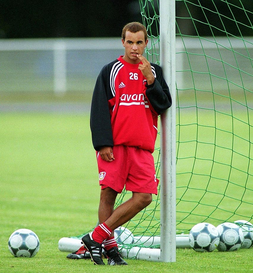 Landon Donovan during a quiet moment with Bayer Leverkusen.