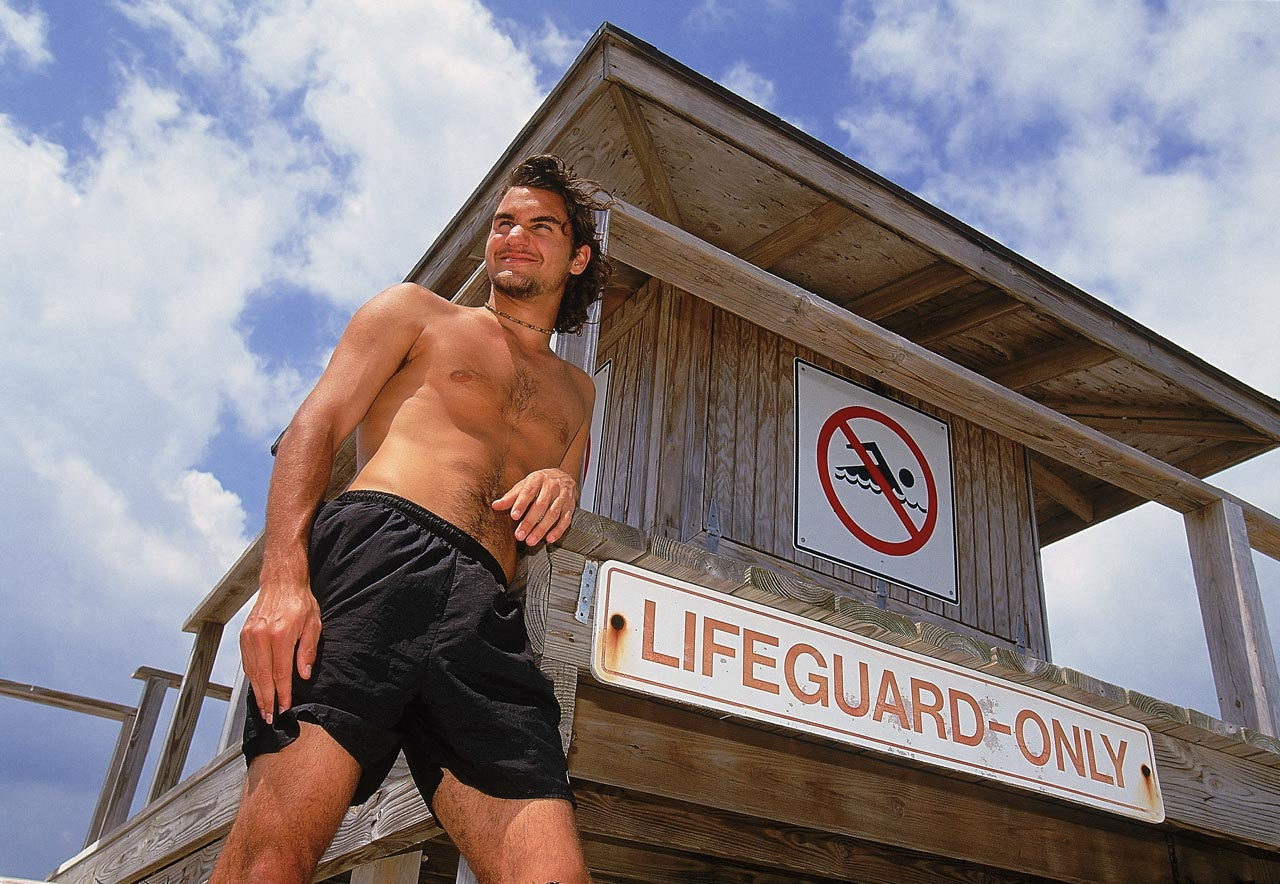 Roger Federer poses on the beach for a feature shoot during the Ericsson Open in Key Biscayne, Fla., on March 27, 2000.