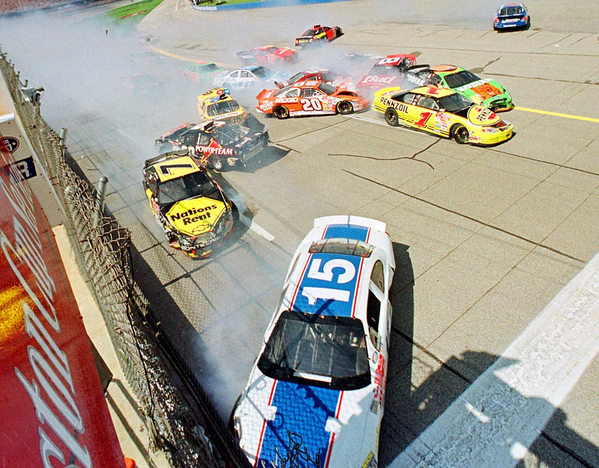 Dale Earnhardt Jr. charged by Bobby Labonte on the last lap, leaving Labonte and a 16-car wreck behind while racing to victory.