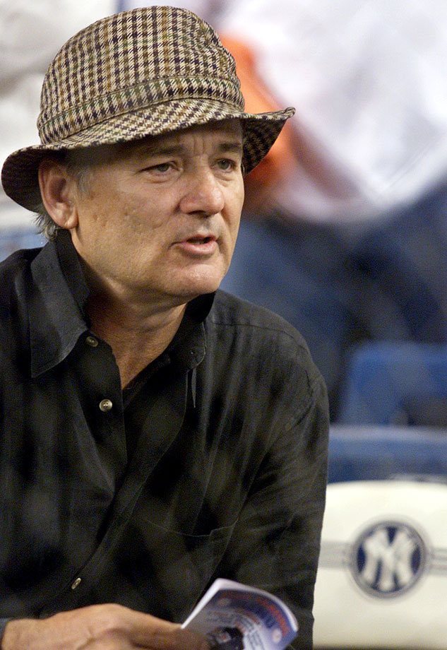 Bill Murray watches Game 4 of the ALCS between the New York Yankees and the Seattle Mariners on Oct. 21, 2001 at Yankee Stadium in the Bronx, N.Y.