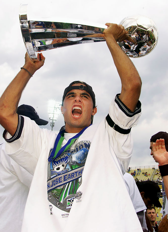 Landon Donovan hoists the MLS Cup trophy after the San Jose Earthquakes defeated the Los Angeles Galaxy 2-1 at Columbus Crew Stadium in Columbus, Ohio. Donovan scored the Earthquakes' first goal in the 43rd minute.