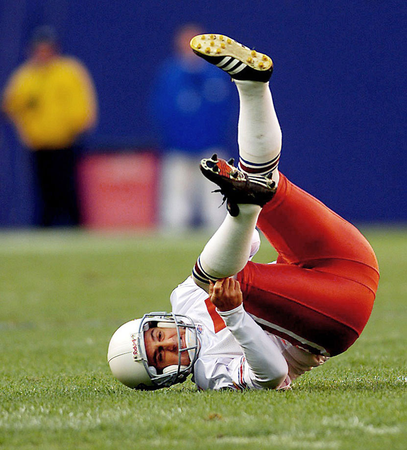The Cardinals' kicker got so excited about making a 42-yard field goal in the first quarter that he jumped in the air, landed awkwardly on his leg, and tore his ACL, ending his season during a 17-13 loss to the Giants on Dec. 15, 2001.