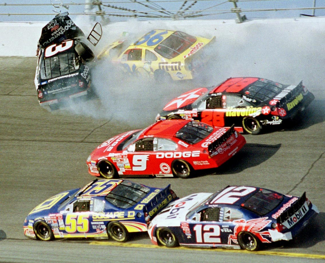 Millions of fans lost their living legend on Feb. 18, 2001 when Dale Earnhardt, 49, was killed on the final lap of the Daytona 500. Earnhardt was battling, blocking, pushing until the end, when his No. 3 Chevrolet nosed into the Turn 4 wall. His death gave greater momentum to a movement toward greater safety development and implementation, and likely saved scores of drivers who sustained similar crashes in the ensuing decade.