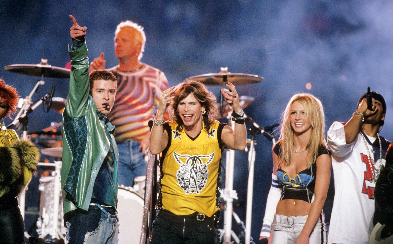 "The worlds of rock, pop and hip-hop collided in an MTV-produced extravaganza. Aerosmith headlined the show, which included Britney Spears, NSYNC, Nelly, Mary J. Blige, spectacular fireworks and constant strobe lights. The collaborative closing number (""Walk This Way"") was memorable, as was Britney's silver football pants."