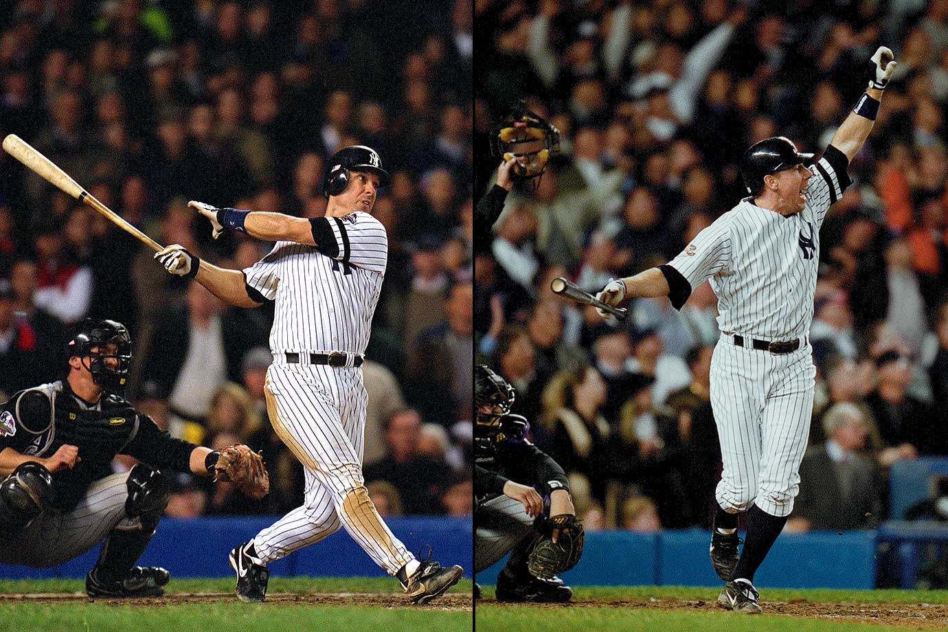For the second time in less than 24 hours, the Yankees got a game-tying two run homer with two outs in the ninth inning against Arizona's Byung-Hyun Kim. In Game 4 it was Tino Martinez and in Game 5 it was Scott Brosius who rescued New York. The Yankees went on to win Game 5 in extra innings.