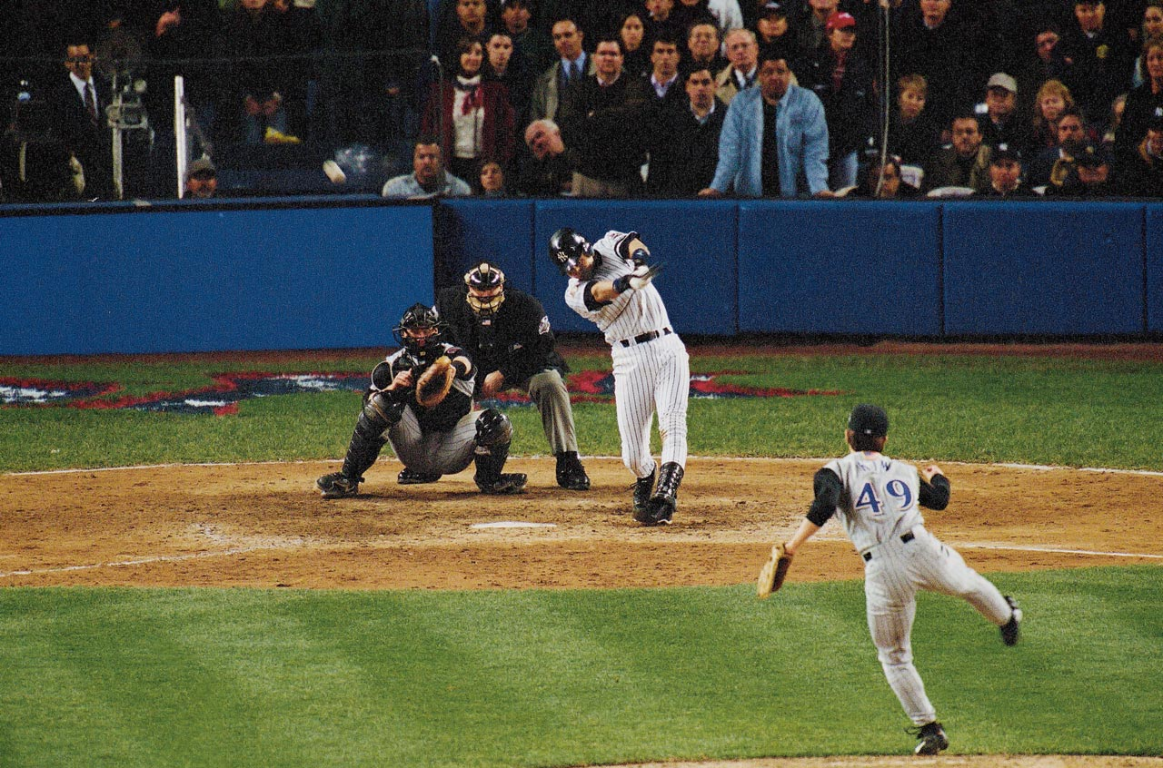 "Major league baseball had never been played in November before Jeter stepped to the plate against Diamondbacks closer Byung-Hyun Kim with two outs in the bottom of the 10th inning of Game 4 of the World Series. As the clock struck midnight, flipping the calendar to November, Jeter fell in, then battled out of, an 0-2 hole, and hit the ninth pitch of the at-bat just over the wall in rightfield for a game-winning solo home run, the first walk-off homer of his career. The blast earned Jeter the nickname ""Mr. November."""