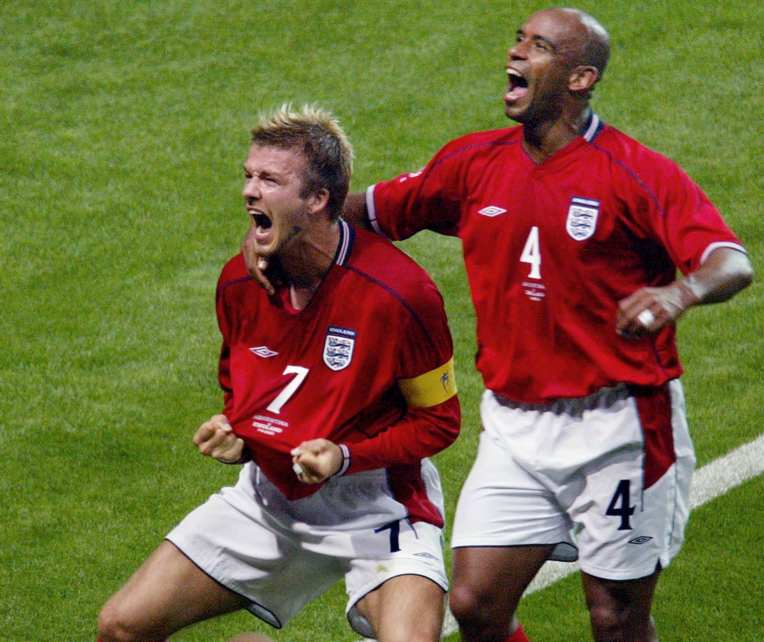 Beckham made up for his 1998 red card by scoring the game's only goal vs. Argentina, a penalty kick in the 44th minute, in the 2002 World Cup. The win revived England's hopes of advancing from group play and ended up preventing the heavily favored Argentines from doing so themselves.