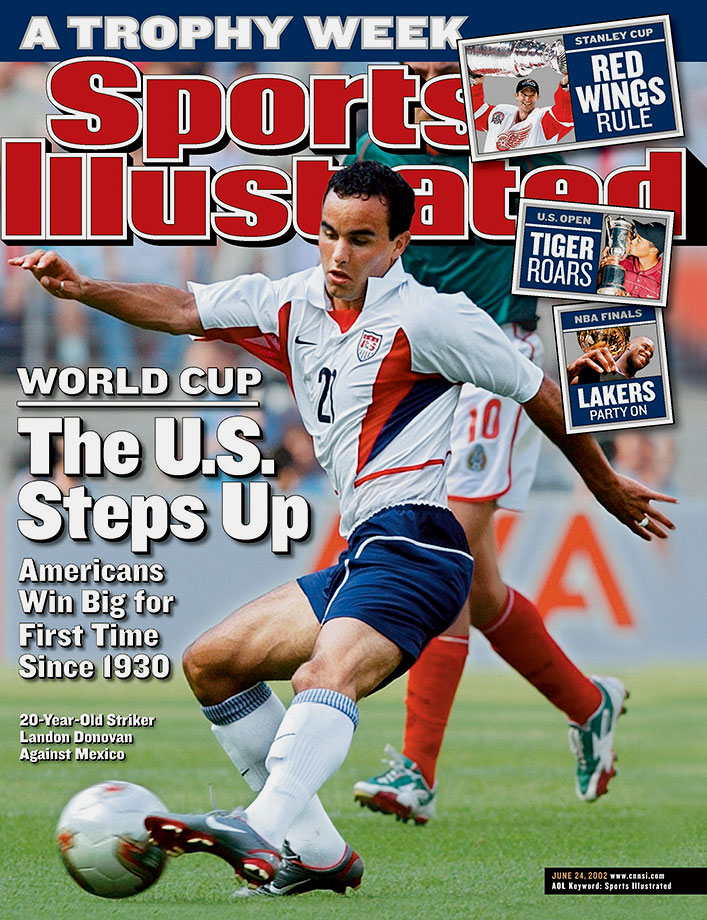 Landon Donovan on the cover of Sports Illustrated as the national team began play in the 2002 World Cup.