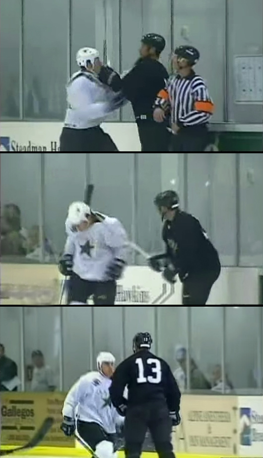 During a Dallas Stars scrimmage in Sept. 2002 veteran winger Guerin got ticked off at prospect Draney and gave him hard two-handed slashes to the neck with his stick. Guerin's ugly attack was caught on video by a TSN crew that was filming a feature on him and the team.