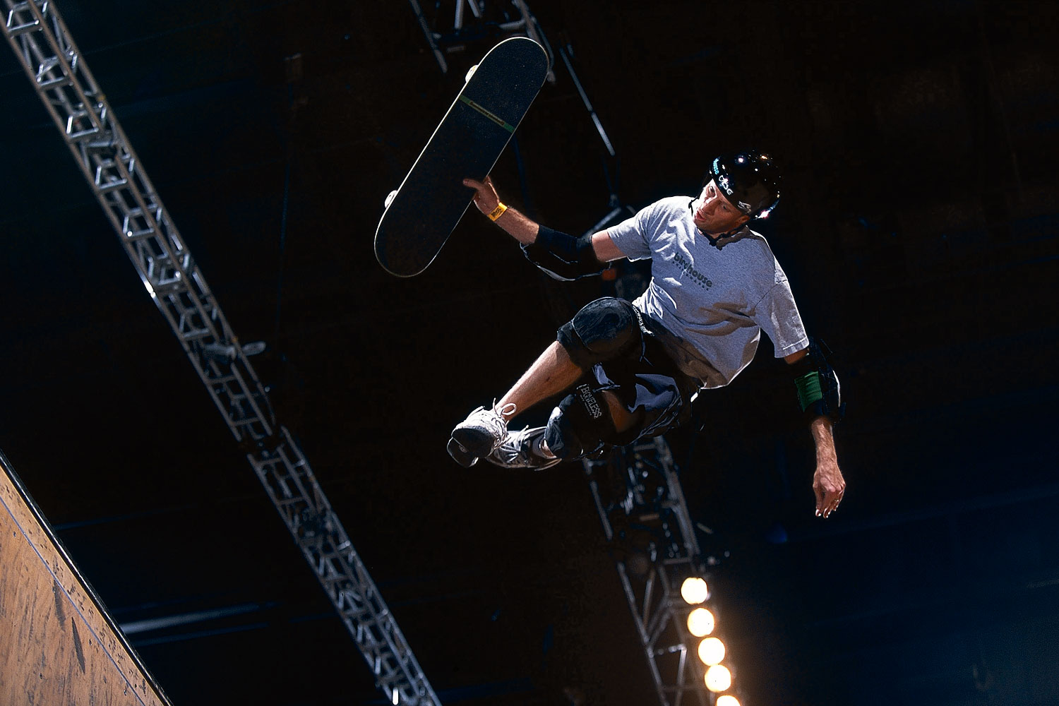 Tony Hawk rotating in the air during the Boom Boom Huckjam competition in Las Vegas.