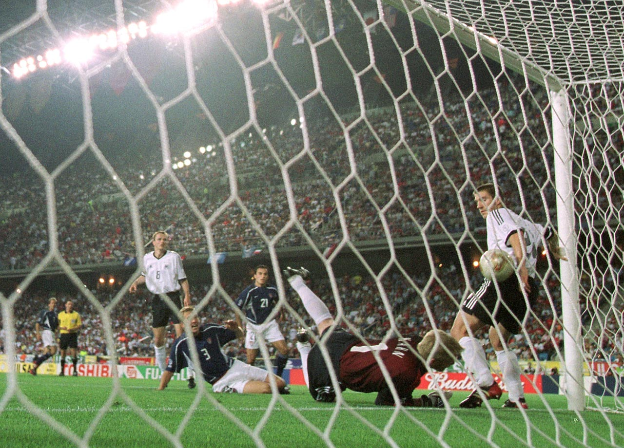 German Torsten Frings appears to block the ball with his hand on the goal line against the U.S. during the first half of their quarterfinal match in the 2002 World Cup.