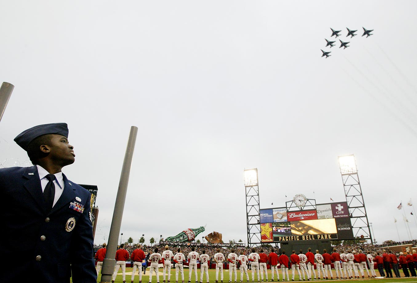The United States Air Force 'Thunderbirds' fly over the stadium before Game 3 of the 2002 World Series, which featured the San Francisco Giants and Anaheim Angels at Pacific Bell Park in San Francisco.