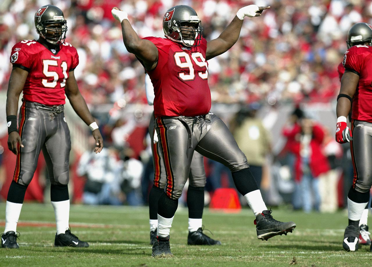 Warren Sapp dances during the NFC Divisional playoff game between the Tampa Bay Buccaneers and San Francisco 49ers on Jan. 12, 2003 in Tampa, Fla. The Bucs won the game, 31-6.