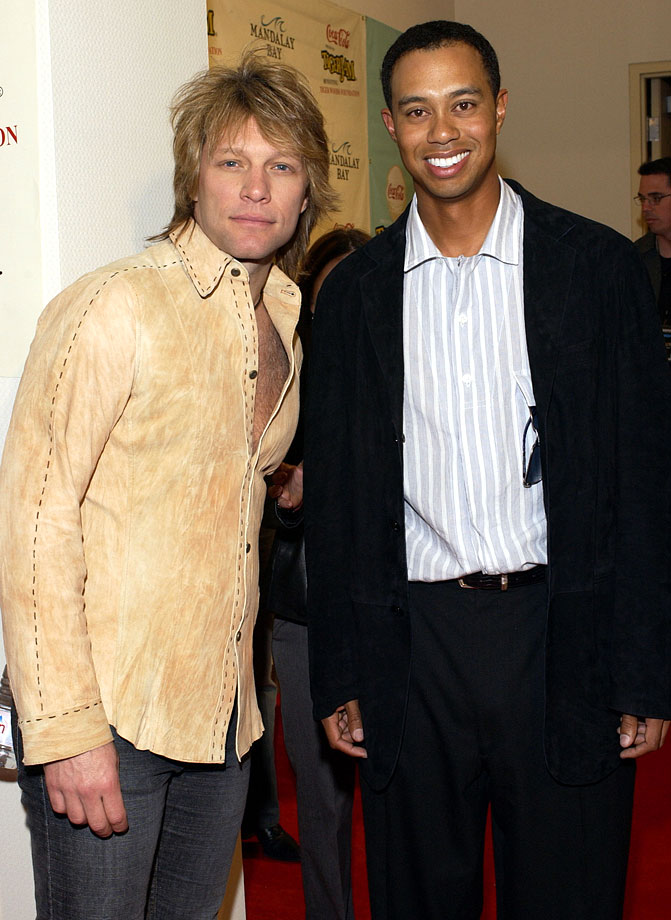 Jon Bon Jovi poses with Tiger Woods after arriving for Tiger Jam VI Benefiting the Tiger Woods Foundation.