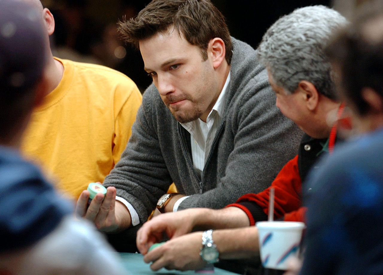 Ben Affleck plays a hand of poker during The Showdown at the Sands, a $1 million poker tournament, on Nov. 22, 2003 at the Sands Casino Hotel in Atlantic City, N.J.