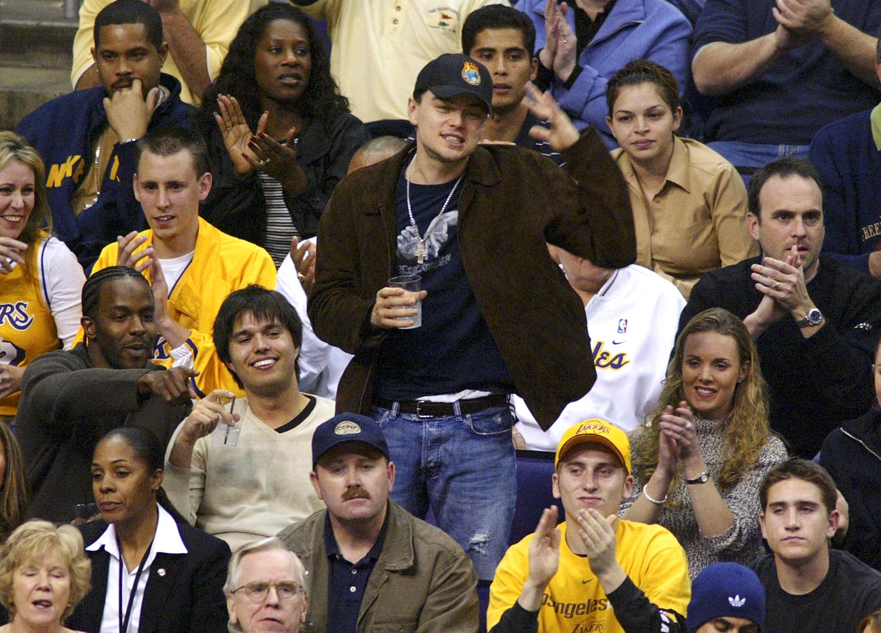 Leonardo DiCaprio reacts during the Los Angeles Lakers game against the San Antonio Spurs at Staples Center in Los Angeles.