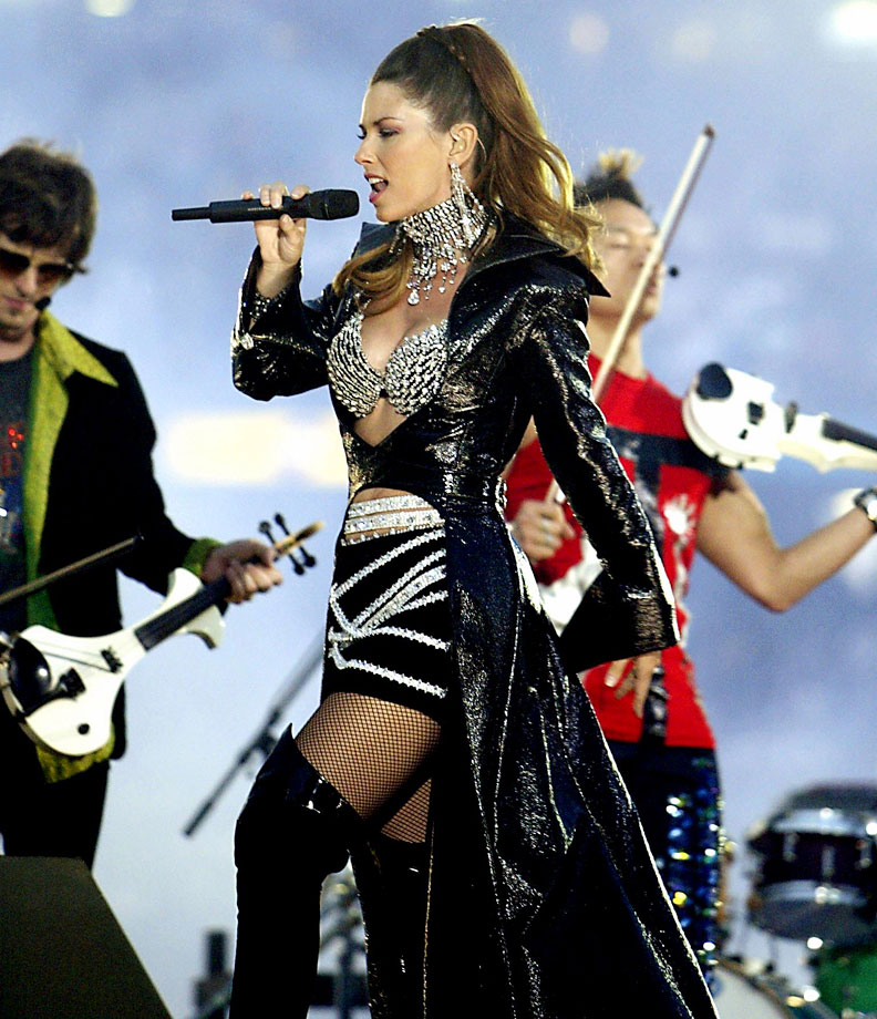 Shania Twain performs during halftime at Super Bowl XXXVII between the Oakland Raiders and the Tampa Bay Buccaneers at Qualcomm Stadium on Jan. 26, 2003 in San Diego.