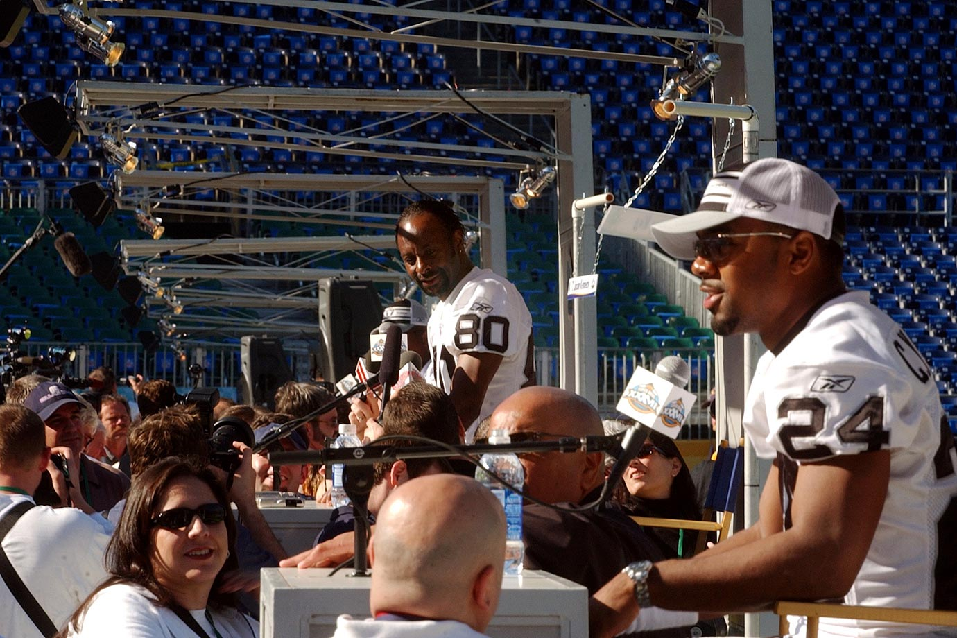 Oakland's Jerry Rice and Charles Woodson answer questions on Media Day for Super Bowl XXXVII in San Diego.  The Raiders were crushed by the Buccaneers, 48-21.