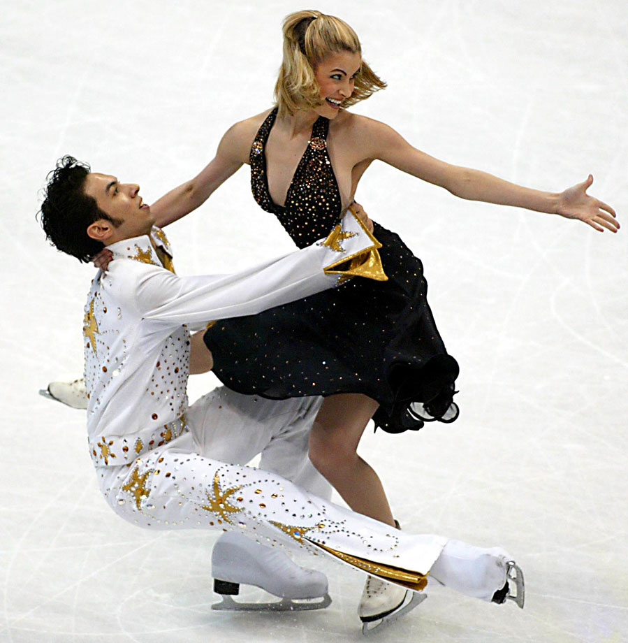 Benjamin Agosto and Tanith Belbin perform an Elvis Presley medley in the Ice Dancing Free Dance competition of World Figure Skating Championships at the MCI Center in Washington, D.C., on March 28, 2003.