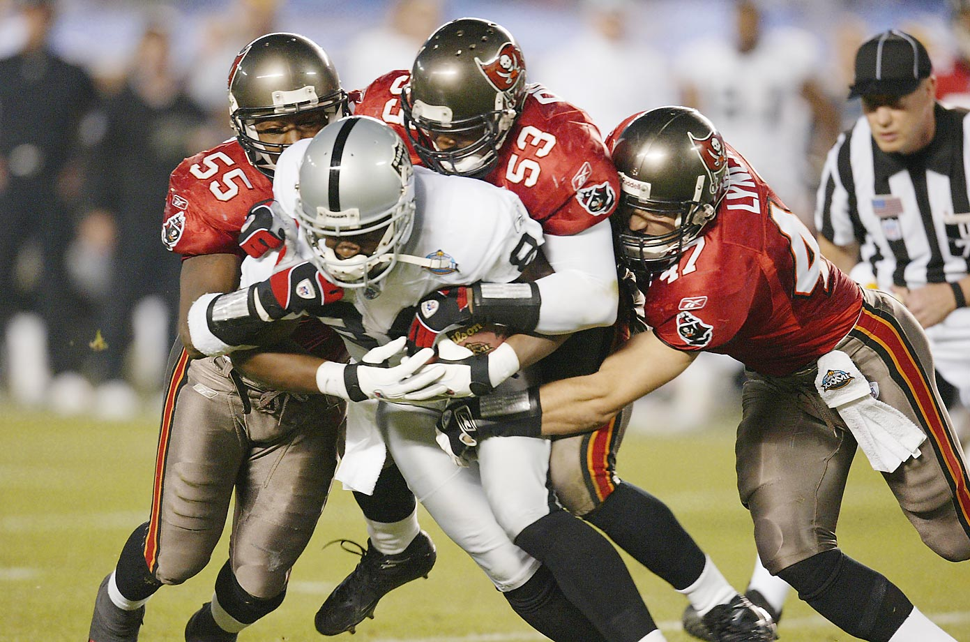 The Buccaneers sacked Rich Gannon five times and returned three of his record-setting five interceptions for touchdowns in the Gruden Bowl.