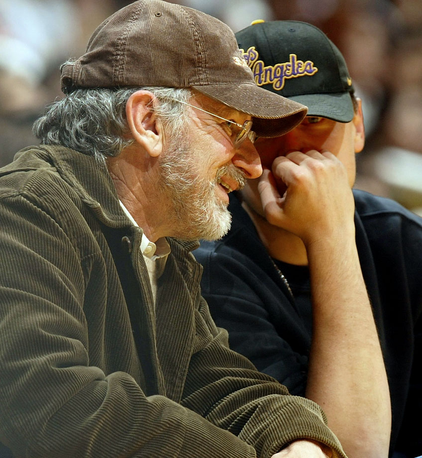 Steven Spielberg and Leonardo DiCaprio chat courtside during the Los Angeles Lakers game against the Phoenix Suns at Staples Center in Los Angeles.