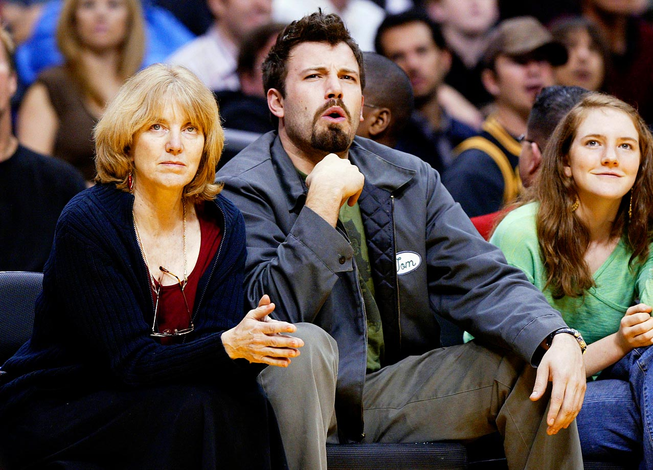 Ben Affleck and his mother Chris attend the Los Angeles Lakers game against the Portland Trail Blazers on Feb. 17, 2004 at Staples Center in Los Angeles.