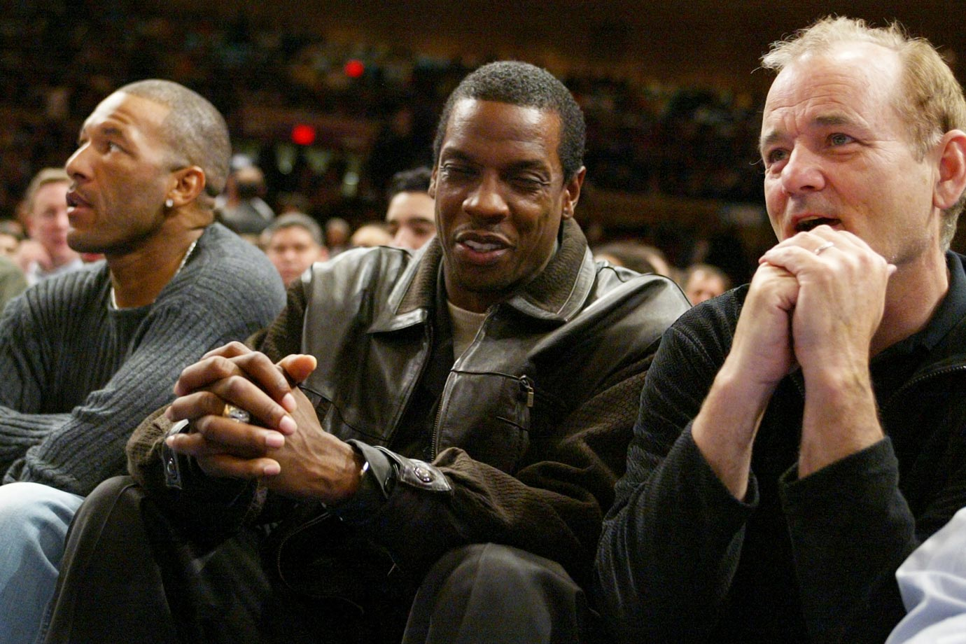 Gary Sheffield, Dwight Gooden and Bill Murray sit courtside for the the New York Knicks game against the Cleveland Cavaliers on April 14, 2004 at Madison Square Garden in New York City.