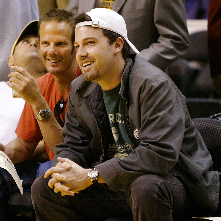 Ben Affleck and Peter Berg smile before the start of Game 3 of the Western Conference Semifinals between the Los Angeles Lakers and San Antonio Spurs on May 9, 2004 at Staples Center in Los Angeles.