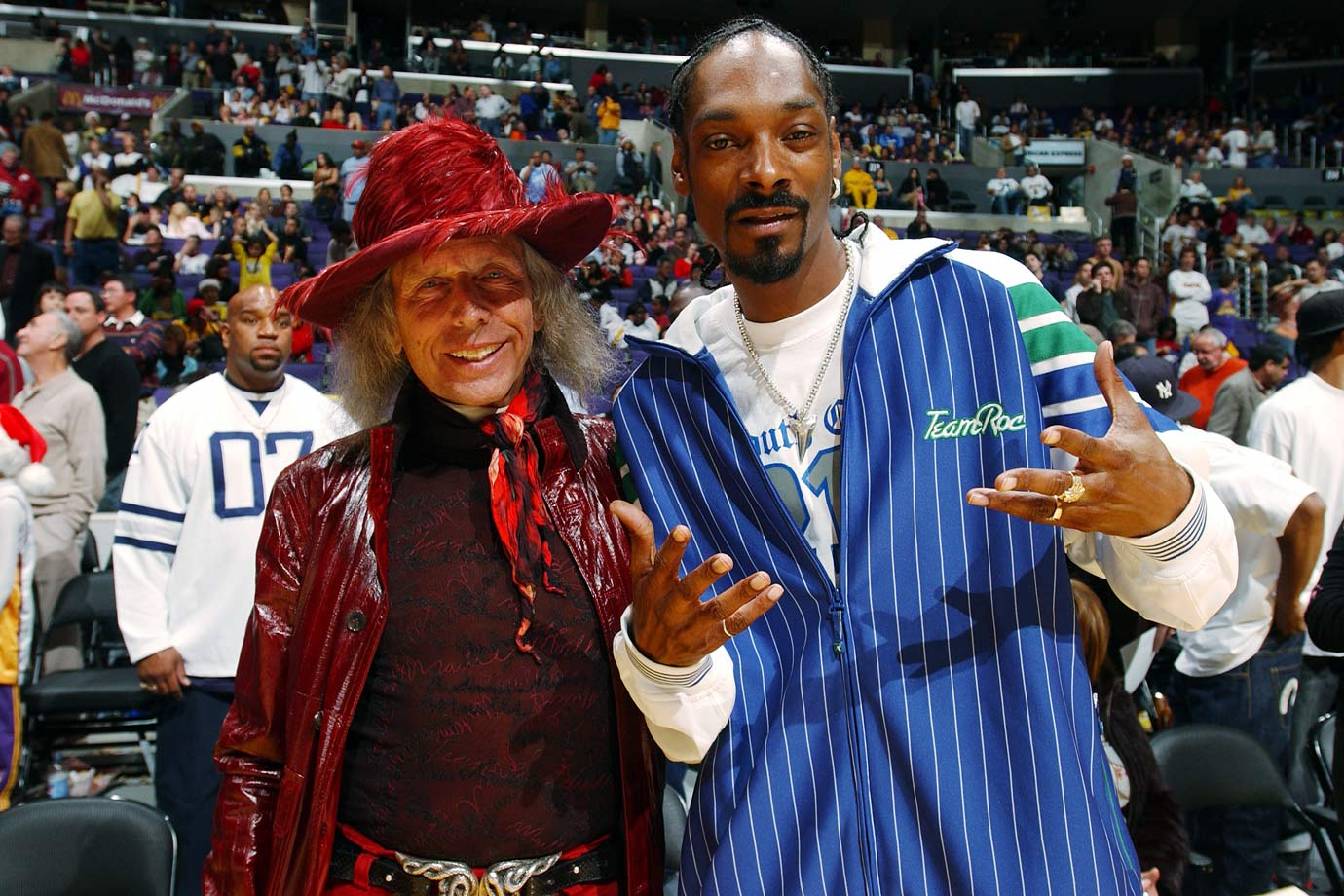 James Goldstein and Snoop Dogg pose together during the Los Angeles Lakers game against the Miami Heat on Dec. 25, 2004 at Staples Center in Los Angeles.