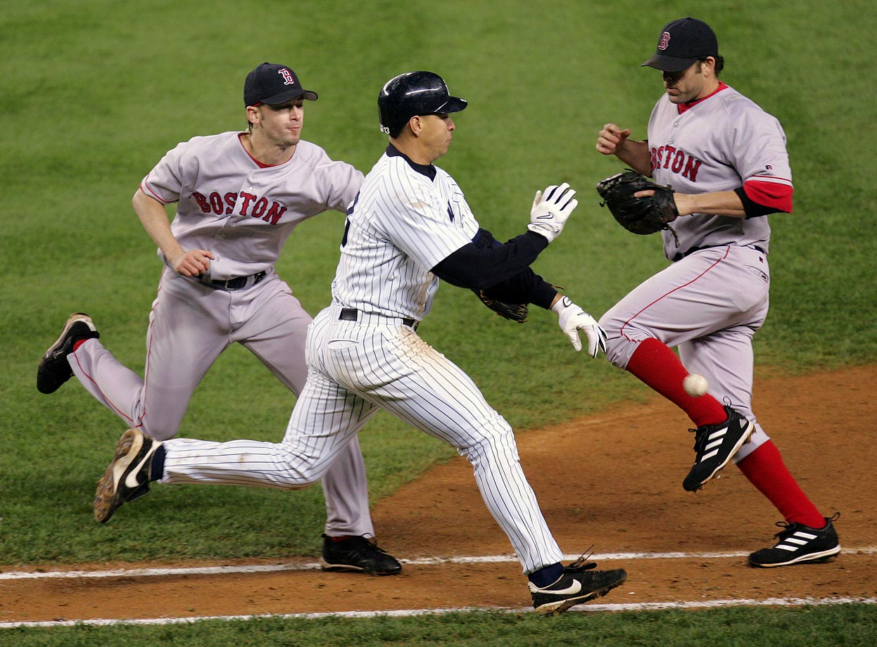 During Game 6 of the 2004 ALCS against the Red Sox, Rodriguez hit a slow roller between first base and the pitcher's mound. As Bronson Arroyo fielded the ball and tried to apply the tag, A-Rod slapped the ball from his glove. Derek Jeter, who was on first base, came around to score while Rodriguez advanced to second. The umpires huddled and ruled that A-Rod's slap was interference, forcing Jeter to return to second and nullifying the run. Boston went onto win the game and the series.