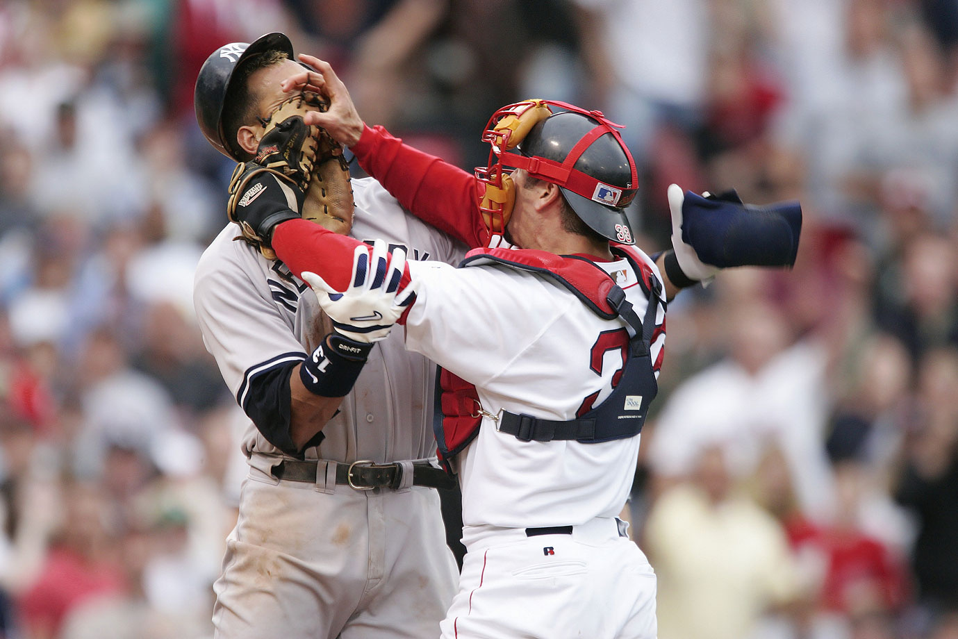 Jason Varitek may have cemented his place in Red Sox lore when he challenged Alex Rodriguez during a July game at Fenway Park in 2004. Varitek shoved Rodriguez in the face with his glove after A-Rod objected to being hit with a Bronson Arroyo pitch, and following the subsequent brawl (in which both Varitek and Rodriguez were ejected), the Red Sox rallied to a dramatic 11-10 victory. The image can be found hanging in many a sports bar throughout New England.