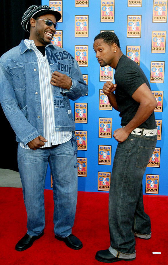 Will Smith and Lennox Lewis joke around as they arrive at Staples Center for the NBA All-Star game in Los Angeles.