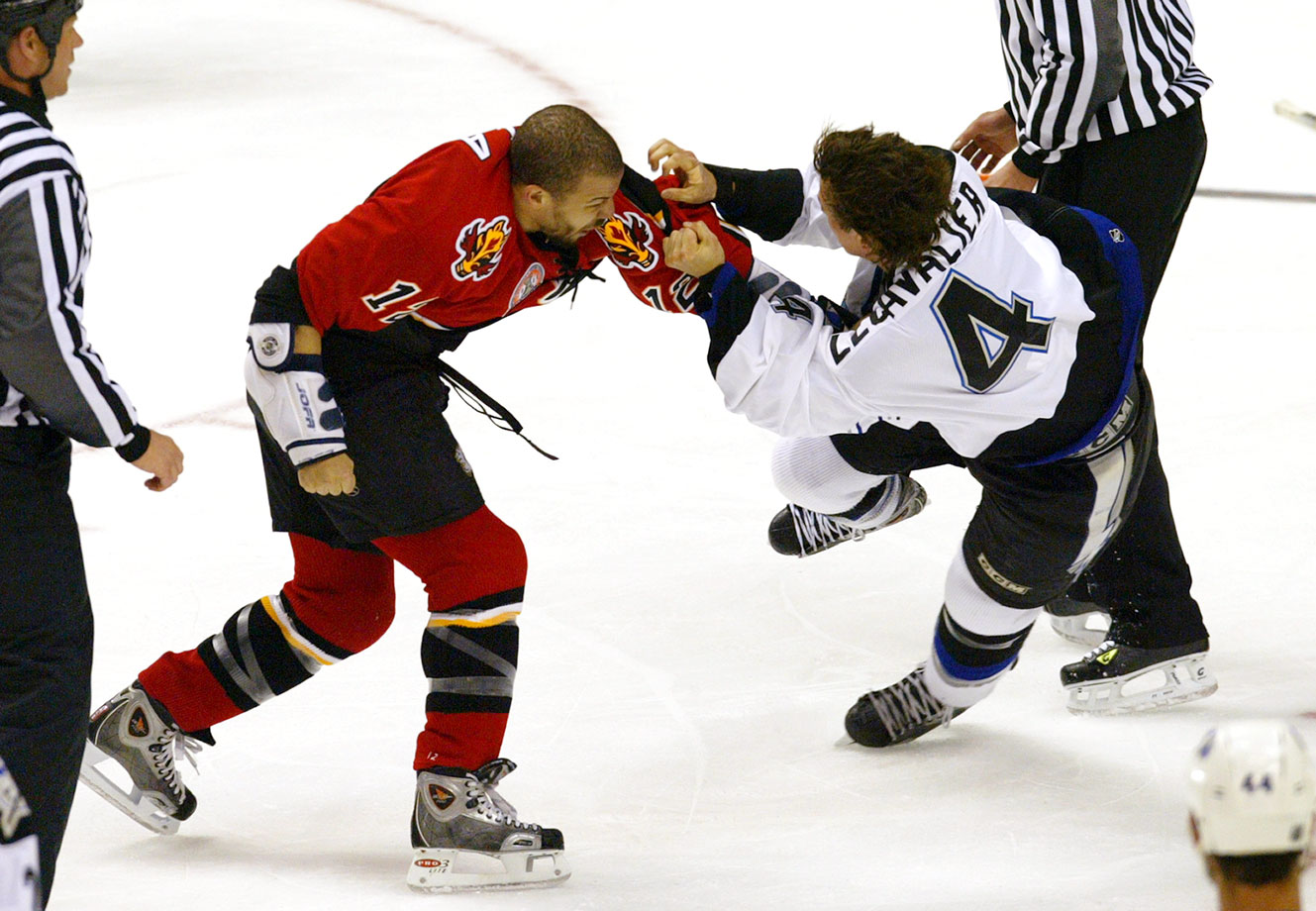 Though the Tampa Bay star lost this memorable bout against Calgary's captain in Game 3, and his team lost the game 3-0, falling behind in the series two games to one, the Lightning were sparked by his courage and went on to win the series in seven.