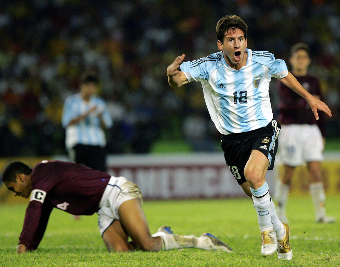 Lionel Messi celebrates after scoring Argentina's second goal against Venezuela during a South American Under-20 Championship game on Jan. 13, 2005 in Armenia, Colombia.