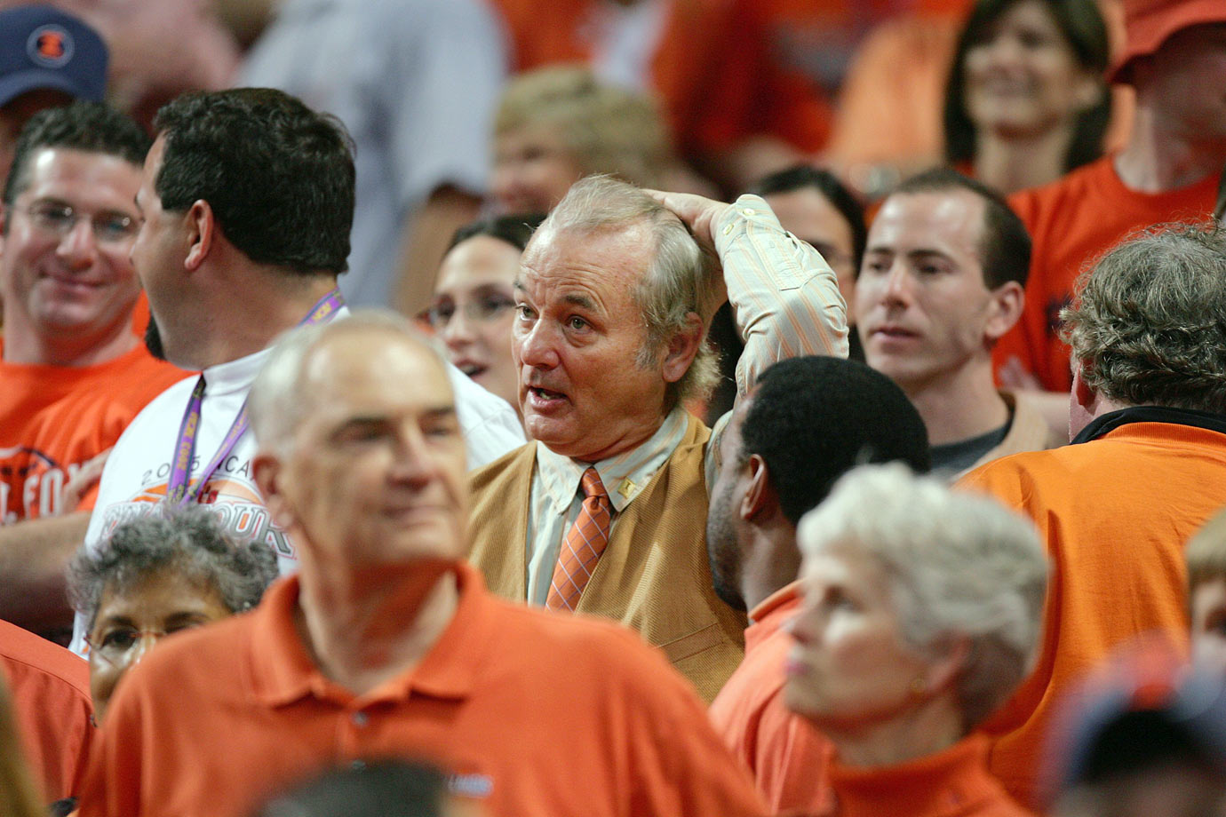 Bill Murray reacts during the Illinois Fighting Illini's 75-70 loss to the North Carolina Tar Heels in the NCAA Men's National Championship Game on April 4, 2005 at the Edward Jones Dome in St. Louis.