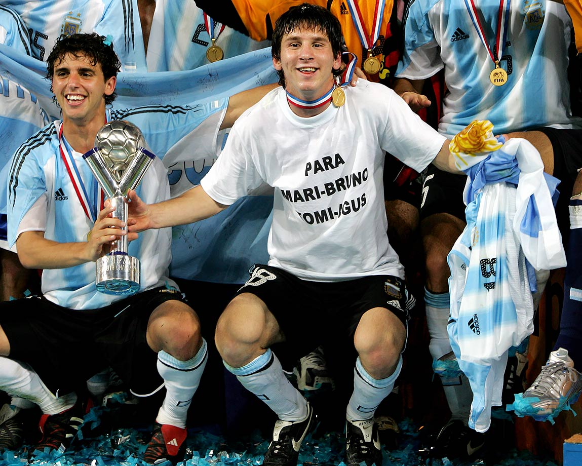 Lionel Messi celebrates with the trophy after Argentina won the FIFA World Youth Championships over Nigeria on July 2, 2005 in Utrecht, Netherlands.