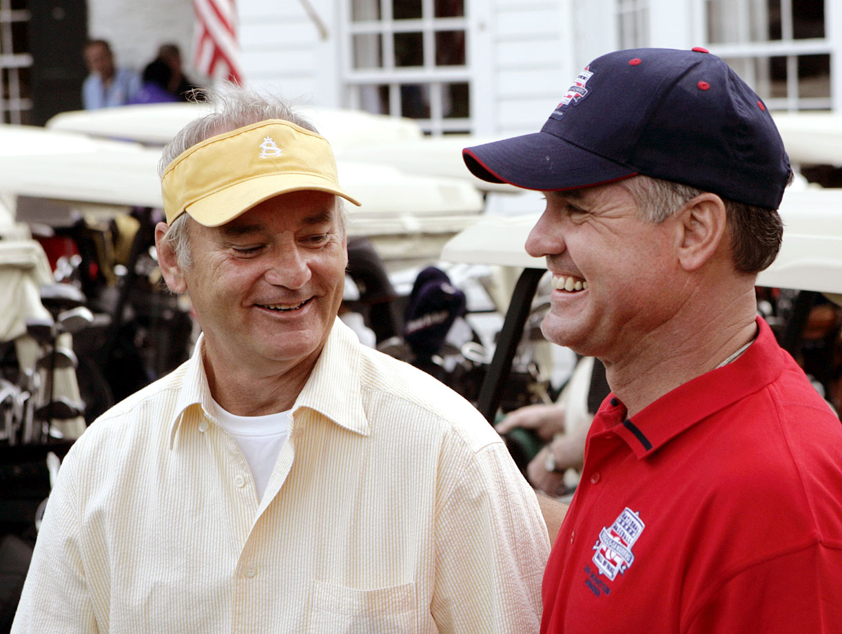 Bill Murray shares a laugh with future Baseball Hall of Fame inductee Ryne Sandberg before playing golf on July 30, 2005 in Cooperstown, N.Y.