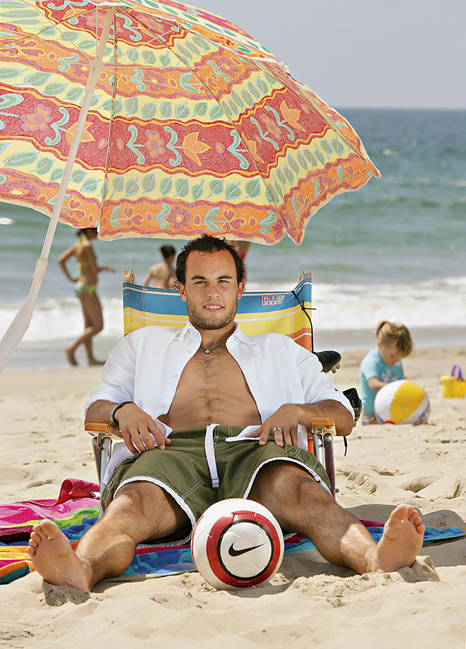Landon Donovan poses during a photo shoot on Manhattan Beach in Los Angeles.