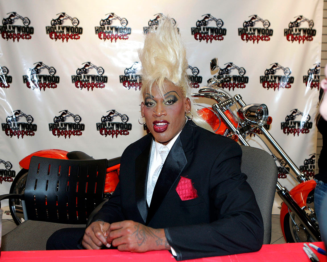 Rodman and his massive coif at the Seminole Hard Rock Hotel and Casino in Florida.
