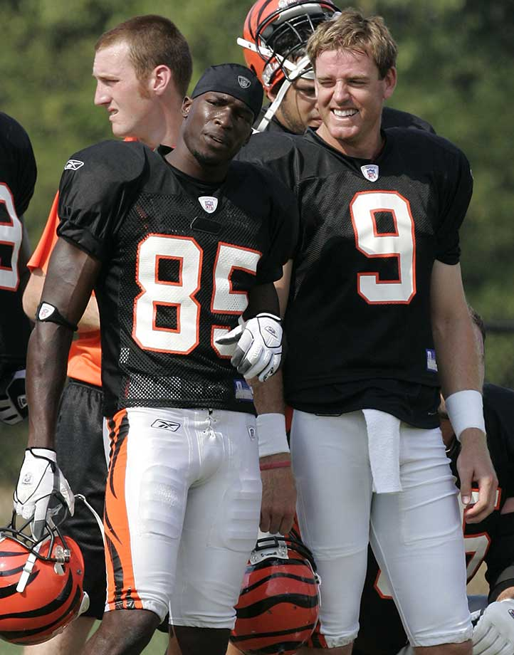 Bengals receiver Chad Johnson talks with Palmer at training camp in Georgetown, Ky. Of the 50-plus players Palmer has thrown a touchdown to, Johnson has the most, at 43, followed by T.J. Houshmandzadeh at 36.