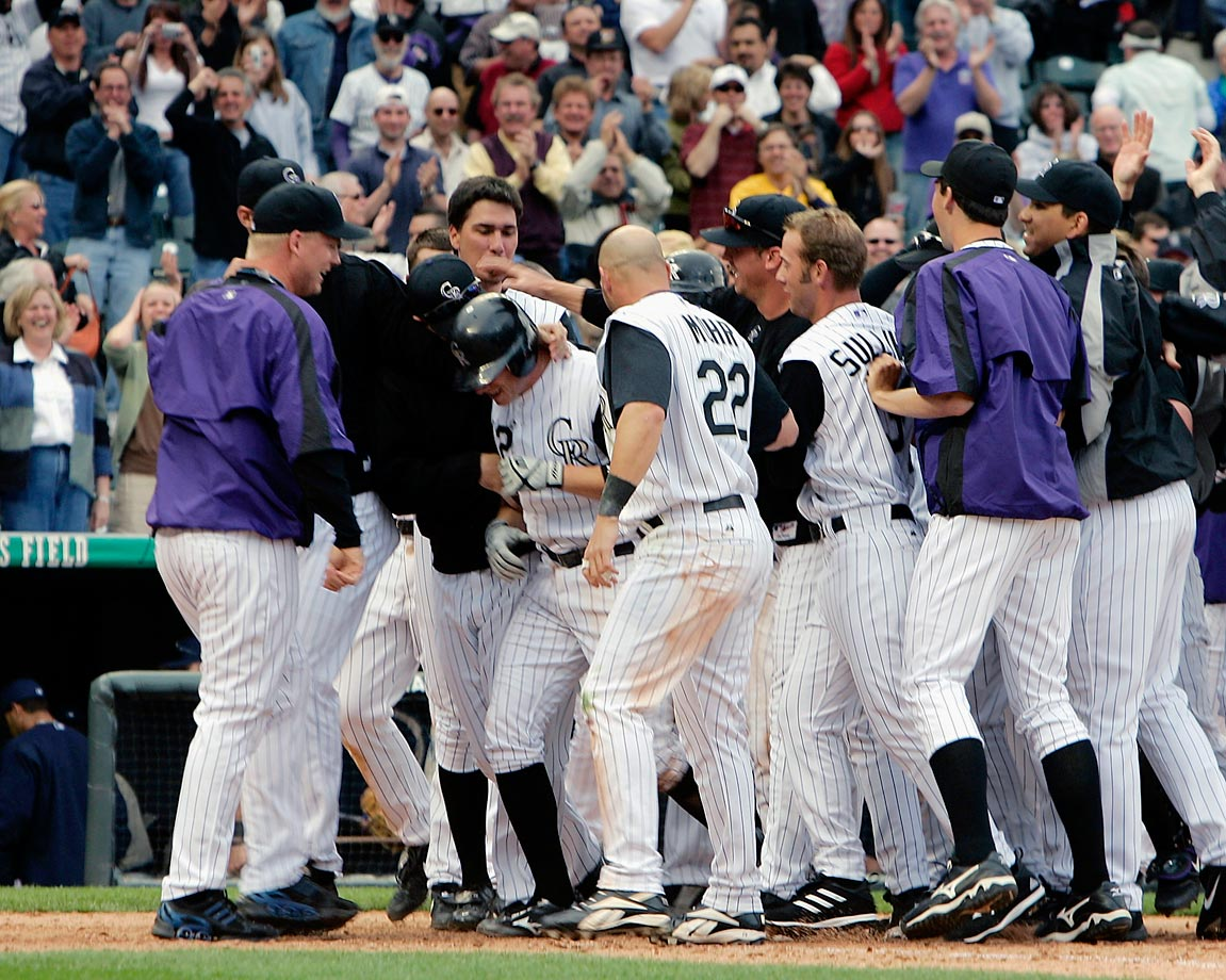 The Rockies' outfielder was placed on the 15-day DL with a strained left calf, which he sustained during the team's victory celebration in its season opener on April 4, 2005