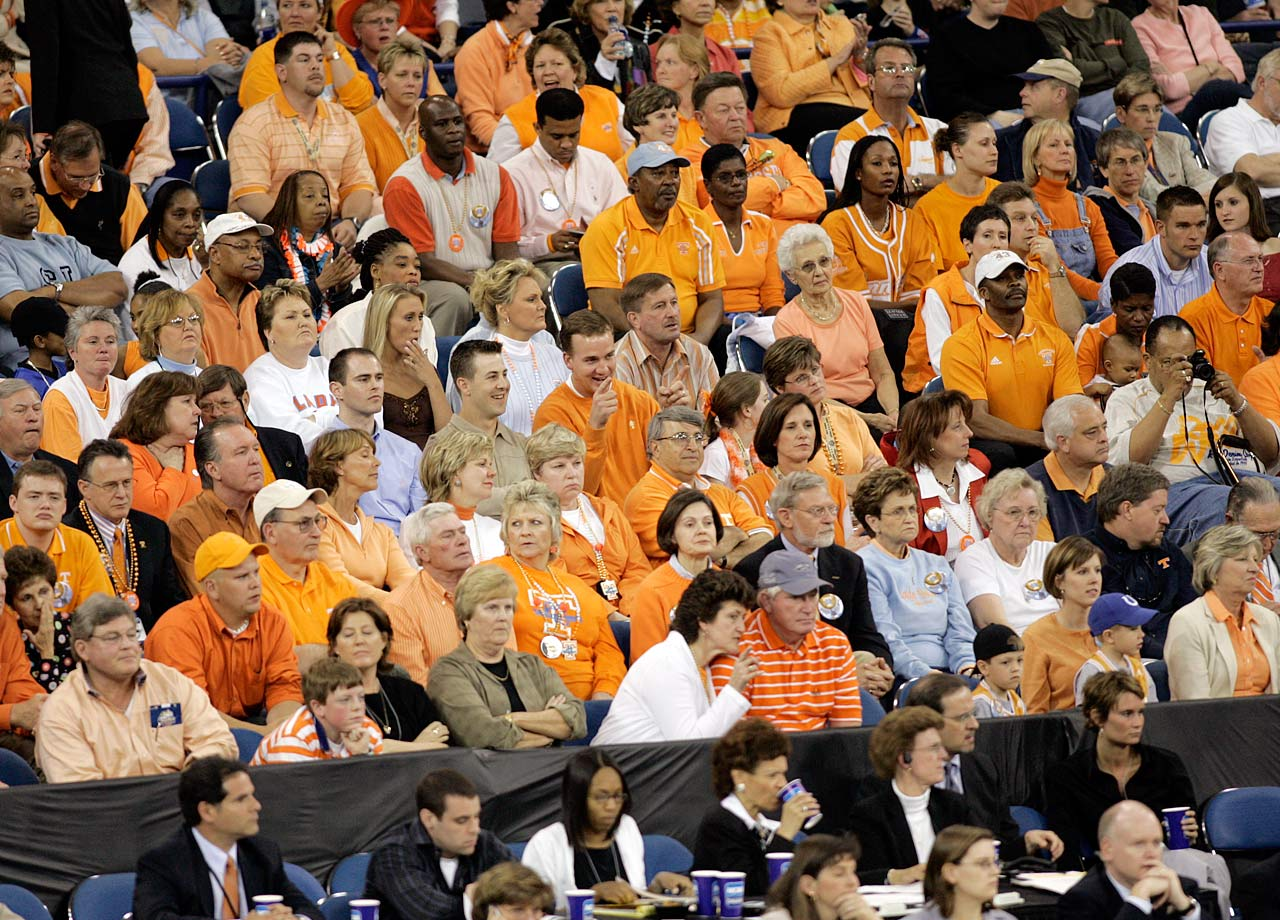 Peyton Manning takes in a Tennessee Lady Vols basketball game. Manning was 39-6 in his four years at Tennessee.