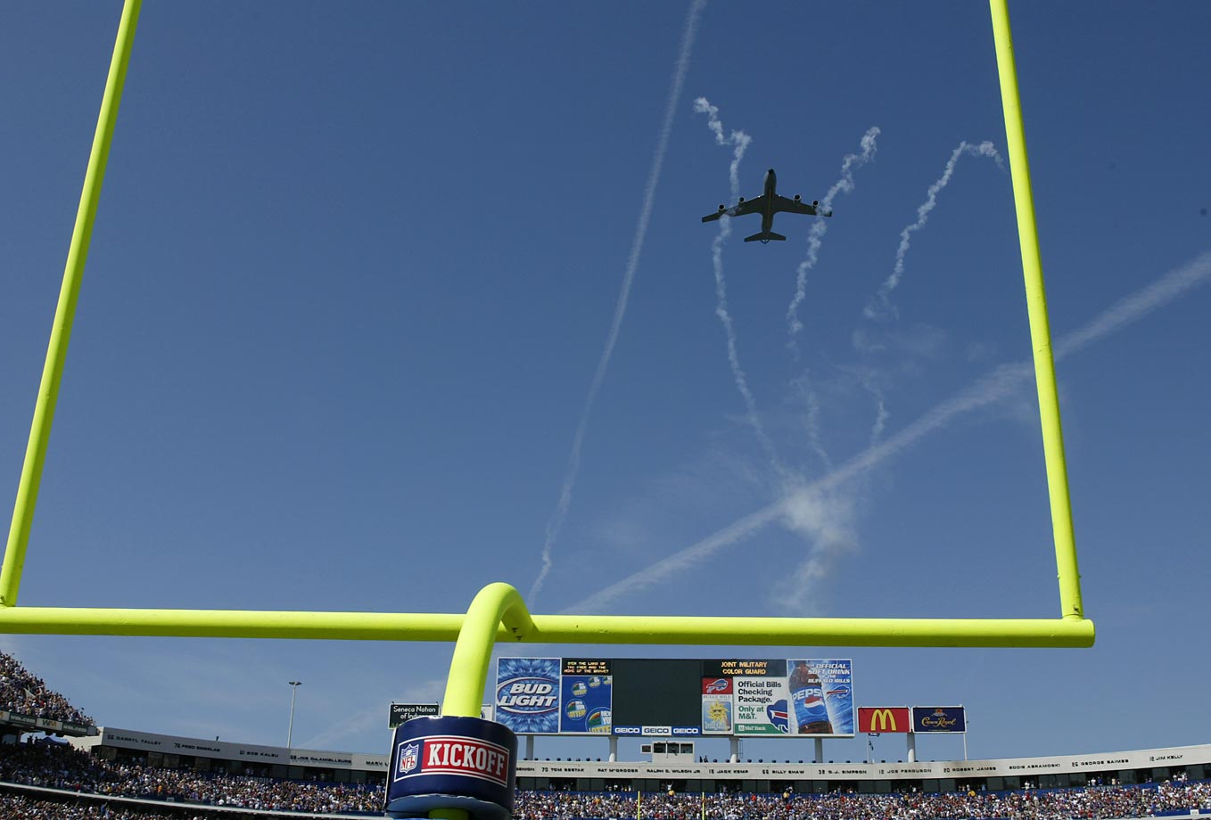 A military flyover prior to the game between the Houston Texans and Buffalo Bills on Sept. 11, 2005.