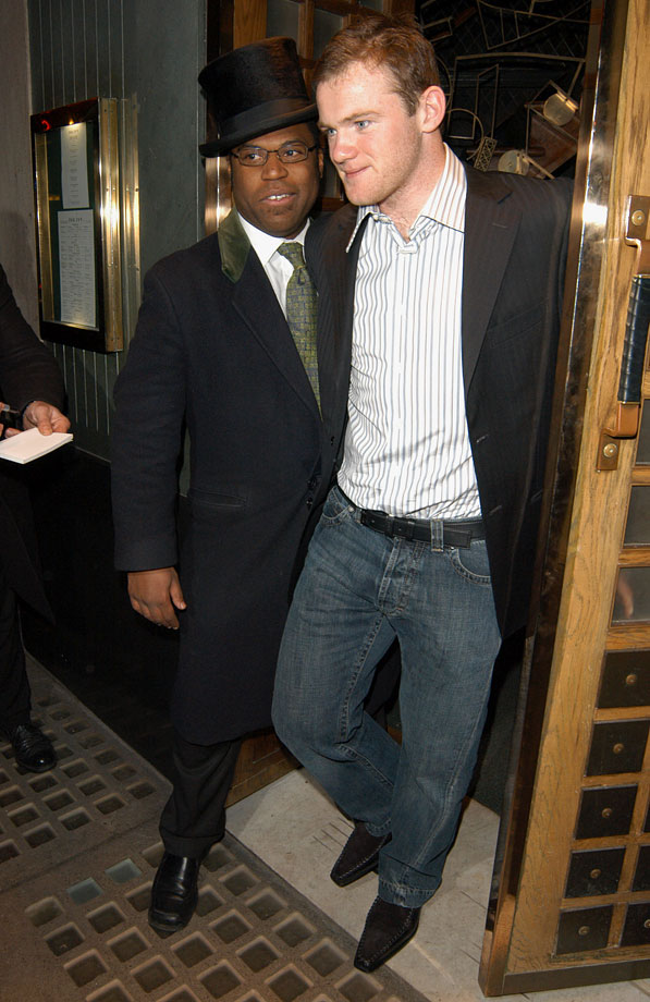 Wayne Rooney exits The Ivy Restaurant in London on March 12, 2005.