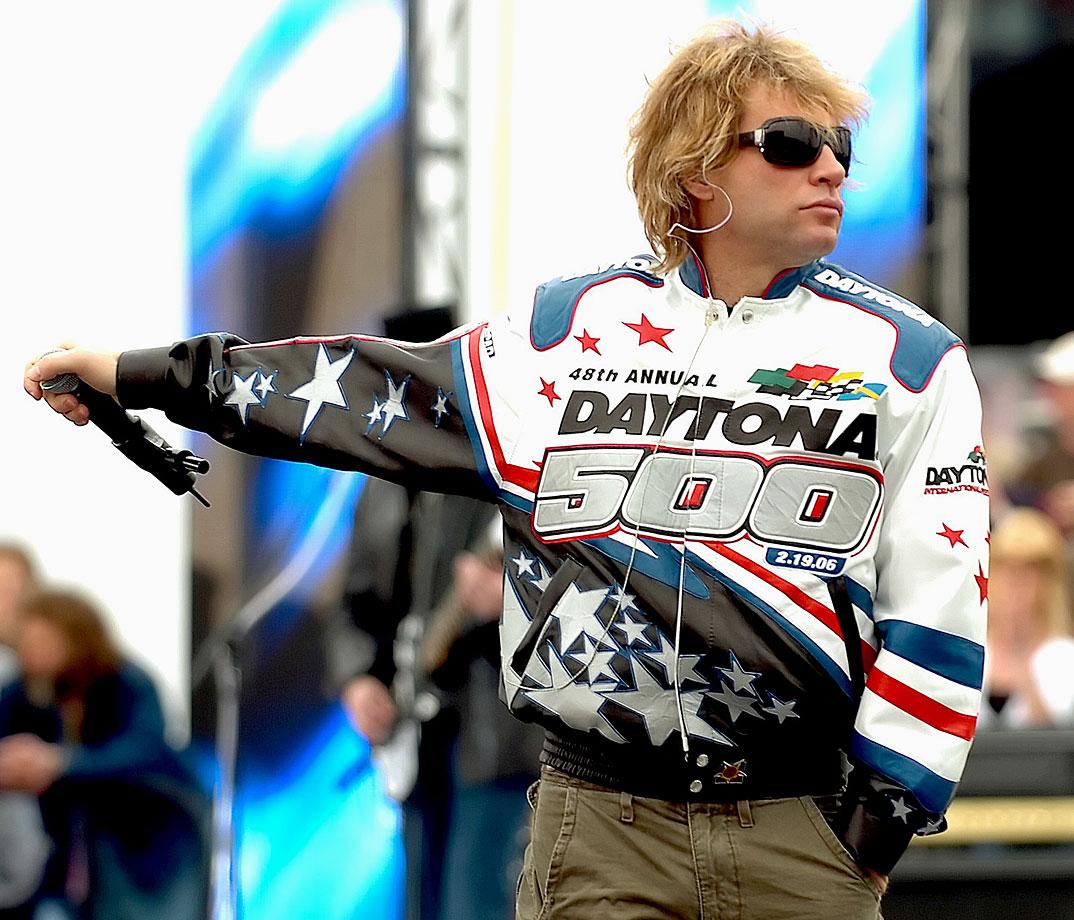 Jon Bon Jovi performs for fans along pit road during the Daytona 500 at the Daytona International Speedway in Daytona Beach, Fla.