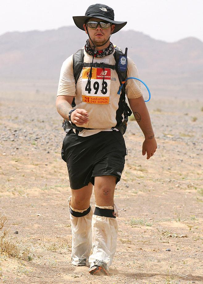 Marathon des Sables (Sand Marathon) on April 10, 2006 in the Sahara of southern Morocco.