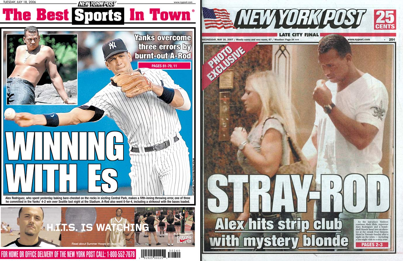 "It's a challenge for any New York athlete to stay out of the press, something A-Rod knows all too well. In 2006, he was photographed sunbathing shirtless in Central Park. A year later, he was spotted leaving a Toronto strip club with a ""mystery blonde."" Days later, an exotic dancer was quoted in the New York Daily News about A-Rod's preference for the ""she-male, muscular type."" A year later, Cynthia Rodriguez filed for divorce, citing ""extra marital affairs and other marital misconduct."""