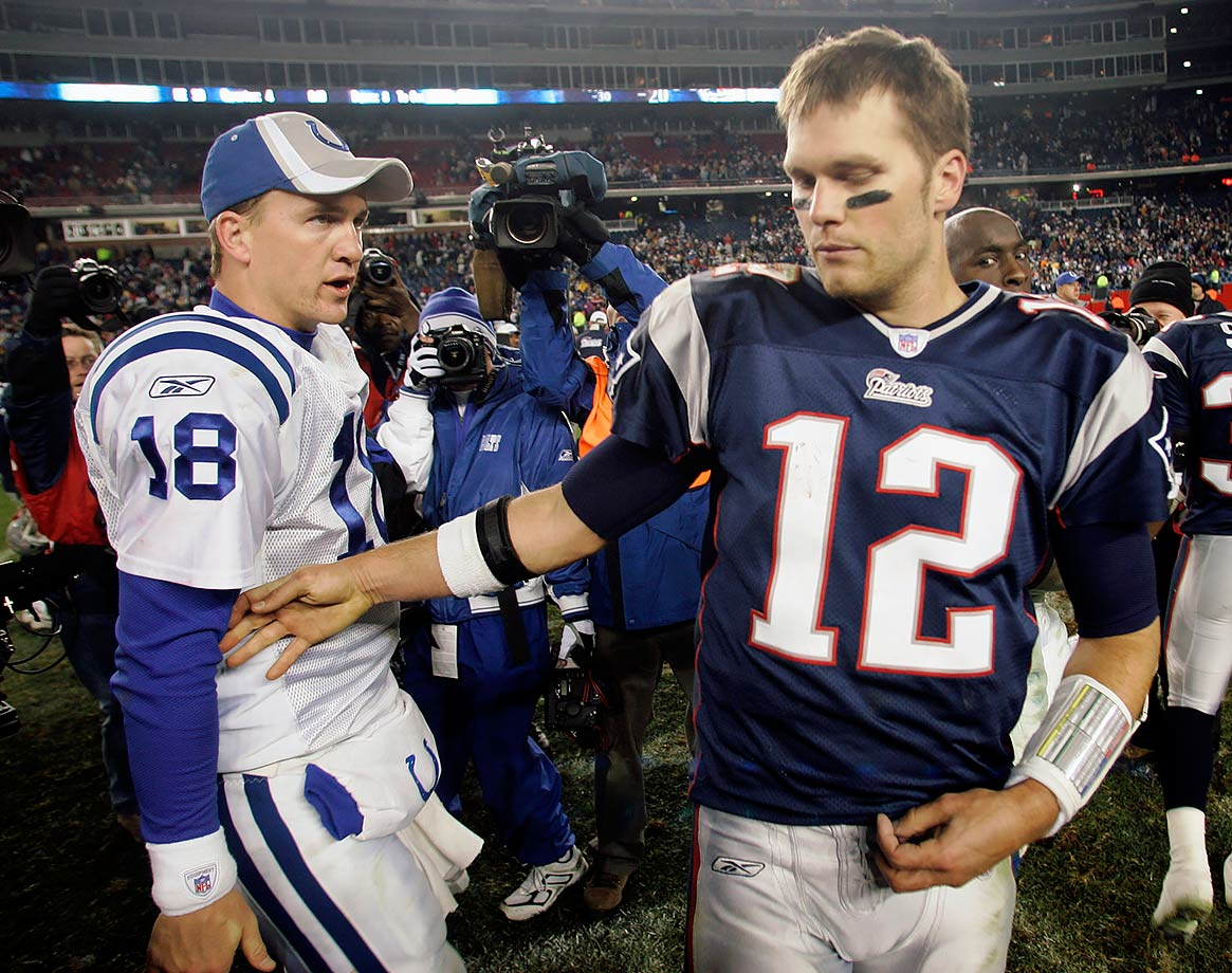 The Colts defense intercepted Tom Brady four times and Peyton Manning threw two touchdowns to Marvin Harrison to help the Colts improve to 8-0 on the season. (Brady 6, Manning 2)